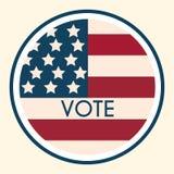 Αυτοκόλλητη ετικέττα και διακριτικό ψηφοφορίας εκλογής Αμερικανικό Flag& x27 s συμβολικό Elem Στοκ Εικόνες