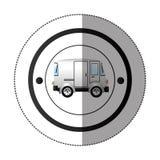 Αυτοκόλλητη ετικέττα με την κυκλική μορφή με το ζωηρόχρωμο μίνι φορτηγό Στοκ Εικόνα