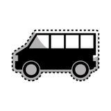 Αυτοκόλλητη ετικέττα μονοχρωματική με τη σκιαγραφία του φορτηγού Στοκ Φωτογραφίες