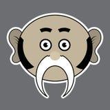 Αυτοκόλλητη ετικέττα - μπεζ γελοίο άτομο με το μαύρο mustache απεικόνιση αποθεμάτων