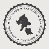 Αυτοκόλλητη ετικέττα νησιών Aka Διανυσματική απεικόνιση