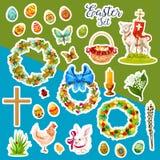 Αυτοκόλλητη ετικέττα Πάσχας που τίθεται με τα σύμβολα διακοπών άνοιξη Στοκ Εικόνα