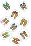 Αυτοκόλλητη ετικέττα παπουτσιών μωρών Διάνυσμα ετικετών Στοκ Εικόνες