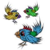 Αυτοκόλλητη ετικέττα πουλιών κινούμενων σχεδίων Στοκ Εικόνα