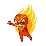 Αυτοκόλλητη ετικέττα πυρκαγιάς αγοράκι Superhero απεικόνιση αποθεμάτων