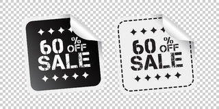 Αυτοκόλλητη ετικέττα πώλησης Πώληση μέχρι 60 percents Γραπτός διανυσματικός άρρωστος ελεύθερη απεικόνιση δικαιώματος