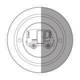Αυτοκόλλητη ετικέττα σκιαγραφιών με την κυκλική μορφή με το μίνι φορτηγό Στοκ Εικόνες