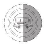 Αυτοκόλλητη ετικέττα σκιαγραφιών με την κυκλική μορφή με το φορτηγό Στοκ Φωτογραφίες