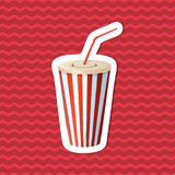 Αυτοκόλλητη ετικέττα του φλυτζανιού σόδας στο κόκκινο ριγωτό υπόβαθρο Γραφικά στοιχεία σχεδίου για τις επιλογές, αφίσα, φυλλάδιο  Στοκ εικόνες με δικαίωμα ελεύθερης χρήσης