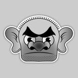 Αυτοκόλλητη ετικέττα - φαλακρός κακοποιός με ευρέα μαύρα φρύδια ελεύθερη απεικόνιση δικαιώματος