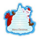 Αυτοκόλλητη ετικέττα χαιρετισμού διακοπών με έναν εύθυμο Άγιο Βασίλη σε ένα χριστουγεννιάτικο δέντρο σε ένα μπλε υπόβαθρο Πλαίσιο Στοκ εικόνα με δικαίωμα ελεύθερης χρήσης