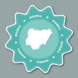 Αυτοκόλλητη ετικέττα χαρτών της Νιγηρίας στα καθιερώνοντα τη μόδα χρώματα Στοκ Φωτογραφία