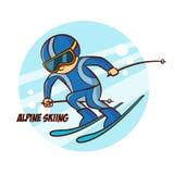 Αυτοκόλλητη ετικέττα alpine skiing χειμερινού αθλητισμού Στοκ Φωτογραφία