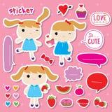 Αυτοκόλλητων ετικεττών κοριτσιών χαριτωμένο διάνυσμα κινούμενων σχεδίων φρούτων γλυκό διανυσματική απεικόνιση