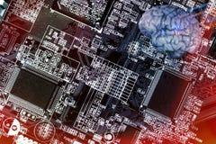 Αυτοματοποιημένος, circuitboard και ανθρώπινος εγκέφαλος Στοκ φωτογραφίες με δικαίωμα ελεύθερης χρήσης