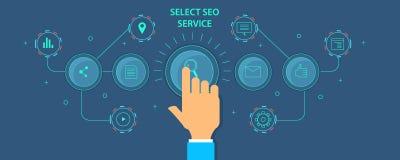 Αυτοματοποιημένο πρόγραμμα μάρκετινγκ Seo λογισμικό για τη βελτιστοποίηση ιστοχώρου Επίπεδο διανυσματικό έμβλημα σχεδίου απεικόνιση αποθεμάτων