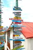 Αυτοσχέδια θέση σημαδιών μιλι'ου, χώροι Punta, Χιλή Παταγωνία, Νότια Αμερική Στοκ Εικόνα