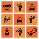 Αυτόματα υπηρεσιών εικονίδια επισκευής αυτοκινήτων μηχανικά Στοκ Φωτογραφίες