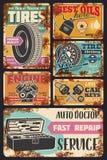 Αυτόματες διαγνωστικές αφίσες κεντρικής σκουριάς υπηρεσιών αυτοκινήτων απεικόνιση αποθεμάτων