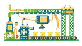 Αυτόματη βιομηχανική μηχανή τεχνολογίας ρομπότ γραμμών αποθεμάτων επίσης corel σύρετε το διάνυσμα απεικόνισης διανυσματική απεικόνιση