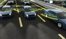 Αυτόνομα αυτοκίνητα σε έναν δρόμο με την ορατή σύνδεση Στοκ φωτογραφίες με δικαίωμα ελεύθερης χρήσης