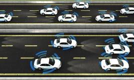 Αυτόνομα αυτοκίνητα σε έναν δρόμο με την ορατή σύνδεση Στοκ φωτογραφία με δικαίωμα ελεύθερης χρήσης