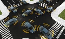 Αυτόνομα αυτοκίνητα σε έναν δρόμο με την ορατή σύνδεση Στοκ Φωτογραφίες