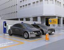 Αυτόνομα οχήματα στο χώρο στάθμευσης για τη διανομή διανυσματική απεικόνιση