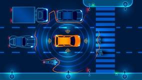 Αυτόνομο έξυπνο αυτοκίνητο διανυσματική απεικόνιση