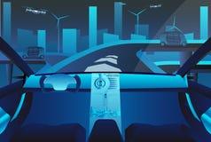 Αυτόνομο μόνο οδηγώντας αυτοκίνητο στο δρόμο διανυσματική απεικόνιση