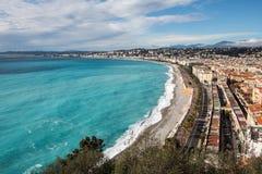 Αυτός προκυμαία της Νίκαιας με Promenade des Anglais κατά μήκος του Baie de Στοκ φωτογραφία με δικαίωμα ελεύθερης χρήσης