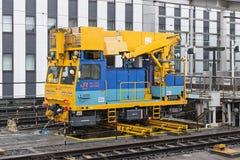 Αυτός όχημα συντήρησης καλωδίων μεγάλων τραίνων) υπερυψωμένο Στοκ Φωτογραφία
