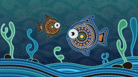 Αυτόχθων ζωγραφική τέχνης σημείων με τα ψάρια Υποβρύχια έννοια, διάνυσμα ταπετσαριών υποβάθρου τοπίων ελεύθερη απεικόνιση δικαιώματος