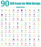 90 εικονίδια SEO για το σχέδιο Ιστού - απλή έκδοση χρώματος Στοκ Εικόνες