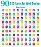 90 εικονίδια SEO για το σχέδιο Ιστού - τετραγωνική έκδοση Στοκ Φωτογραφίες