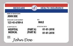 Αυτό είναι μια γενική ομοσπονδιακή medicare κάρτα Τα γενικά ονόματα και τα λογότυπα είναι σε αυτήν την κάρτα διανυσματική απεικόνιση