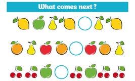 Αυτό που έρχεται επόμενο εκπαιδευτικό παιχνίδι παιδιών Το φύλλο δραστηριότητας παιδιών, λογική κατάρτισης, συνεχίζει το στόχο σει διανυσματική απεικόνιση