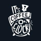 Αυτό ρολόι καφέ ο ` ` s διακοσμητική επιστολή coffee cup dressing girl gown morning white croissant γλυκό φλυτζανιών καφέ σπασιμά ελεύθερη απεικόνιση δικαιώματος