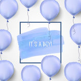 Αυτό s ένα αγόρι μπλε μπαλονιών διάνυσμα μωρό γεννημένο Μπλε υπόβαθρο εορτασμού για τη ευχετήρια κάρτα Στοκ Εικόνα