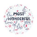 Αυτό ` s ο πιό θαυμάσιος χρόνος του έτους Αφίσα εορτασμού Χριστουγέννων, ευχετήρια κάρτα Συρμένη χέρι doodle απεικόνιση απεικόνιση αποθεμάτων