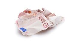 Αφήνοντας ευρο- νομισματικό, ευρώ που απομονώνεται Στοκ Φωτογραφίες