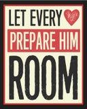 Αφήστε κάθε καρδιά να τον προετοιμάσει εκλεκτής ποιότητας αφίσα Χριστουγέννων δωματίων Διανυσματική απεικόνιση