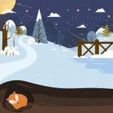 αφήστε το χιόνι Ύπνος αλεπούδων σε μια τρύπα background colors holiday red yellow Στοκ Εικόνα
