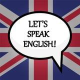 Αφήστε ` s να μιλήσει τα αγγλικά! έννοια εκπαίδευσης πέρα από τη βρετανική σημαία, απόθεμα διανυσματική απεικόνιση