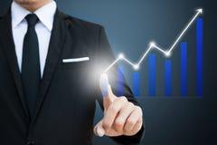 Αφή επιχειρηματιών στη vitual οθόνη με τα οικονομικά διαγράμματα που παρουσιάζουν αυξανόμενο εισόδημα στοκ φωτογραφία με δικαίωμα ελεύθερης χρήσης