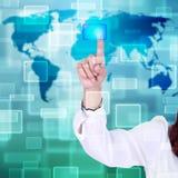 αφή οθόνης ώθησης διαπροσωπειών χεριών κουμπιών ελεύθερη απεικόνιση δικαιώματος
