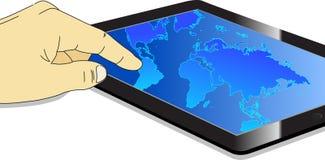 αφή ταμπλετών οθόνης PC χαρτών &u Στοκ εικόνες με δικαίωμα ελεύθερης χρήσης