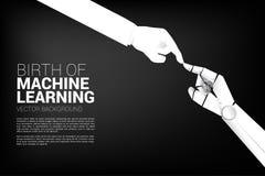Αφή χεριών ρομπότ με το ανθρώπινο χέρι διανυσματική απεικόνιση