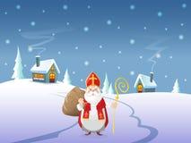 Αφίσα - Άγιος Βασίλης έρχεται στο χωριό - χειμερινό τοπίο τη νύχτα απεικόνιση αποθεμάτων