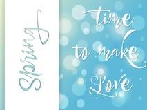 Αφίσα άνοιξης, ευχετήρια κάρτα, χρόνος να αγαπήσει, διάνυσμα Στοκ Φωτογραφία